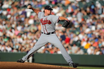 DENVER - JULY 09:  Starting pitcher Tommy Hanson #48 of the Atlanta Braves delivers against the Colorado Rockies during MLB action at Coors Field on July 9, 2009 in Denver, Colorado. The Rockies defeated the Braves 7-6.  (Photo by Doug Pensinger/Getty Ima