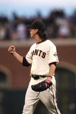 SAN FRANCISCO - AUGUST 01:  Tim Lincecum #55 of the San Francisco Giants reacts after getting the last out in the 8th inning against the Philadelphia Phillies during a Major League Baseball game at AT&T Park on August 1, 2009 in San Francisco, California.