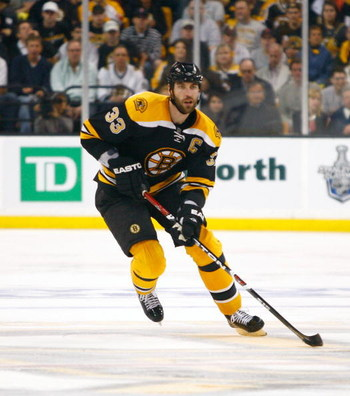 BOSTON - MAY 10: Zdeno Chara #33 of the Boston Bruins heads toward the net against the Carolina Hurricances during Game Five of the Eastern Conference Semifinal Round of the 2009 Stanley Cup Playoffs on May 10, 2009 at the TD Banknorth Garden in Boston, M