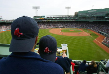 BOSTON - APRIL 18:  A general view from a top the Green Monster of fans as they watch their Boston Red Sox play against the New York Yankees on April 18, 2004 at Fenway Park in Boston, Massachusetts. The Yanees won 7-3. (Photo by Ezra Shaw/Getty Images)