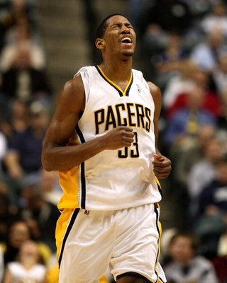 INDIANAPOLIS - NOVEMBER 10:  Danny Granger #33 of the Indiana Pacers reacts to a foul called on him ball during the NBA game against the Denver Nuggets at Conseco Fieldhouse November 10, 2007 in Indianapolis, Indiana. The Nuggets won 113-106. NOTE TO USER