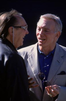 4 Aug 2001:  Owner Jerry Jenes (R) of the Dallas Cowboys talks with Owner Al Davis of the Oakland Raiders during the Pre-Season game at the network Associates Coliseum in Oakland, California. The Raiders defeated the Cowboys 21-14.Mandatory Credit: Jed Ja