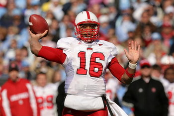 CHAPEL HILL, NC - NOVEMBER 22:  Russell Wilson #16 of the North Carolina State Wolfpack drops back to throw a pass against the North Carolina Tar Heels at Kenan Stadium on November 22, 2008 in Chapel Hill, North Carolina.  (Photo by Streeter Lecka/Getty I