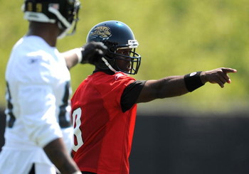 JACKSONVILLE, FL - MAY 1:  Quarterback David Garrard #9 of the Jacksonville Jaguars directs play May 1, 2009 at a team minicamp near Jacksonville Municipal Stadium in Jacksonville, Florida.  (Photo by Al Messerschmidt/Getty Images)