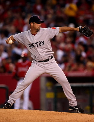 ANAHEIM, CA - MAY 13:  Pitcher Tim Wakefield #49 of the Boston Red Sox throws a pitch against the Los Angeles Angels of Anaheim on May 13, 2009 at Angel Stadium in Anaheim, California.  (Photo by Stephen Dunn/Getty Images)