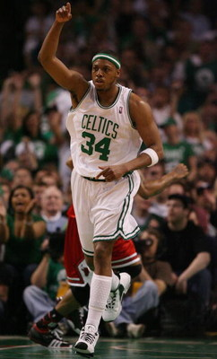 BOSTON - MAY 02:  Paul Pierce #34 of the Boston Celtics celebrates his shot in the fourth quarter against the Chicago Bulls in Game Seven of the Eastern Conference Quarterfinals during the 2009 NBA Playoffs at TD Banknorth Garden on May 2, 2009 in Boston,