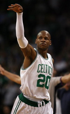BOSTON - MAY 02:  Ray Allen #20 of the Boston Celtics follows through on a buzzer beater in the first half against the Chicago Bulls in Game Seven of the Eastern Conference Quarterfinals during the 2009 NBA Playoffs at TD Banknorth Garden on May 2, 2009 i