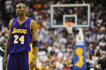 ORLANDO, FL - JUNE 14:  Kobe Bryant #24 of the Los Angeles Lakers stands on the court during Game Five of the 2009 NBA Finals against the Orlando Magic on June 14, 2009 at Amway Arena in Orlando, Florida. The Lakers won 99-86.  NOTE TO USER:  User express