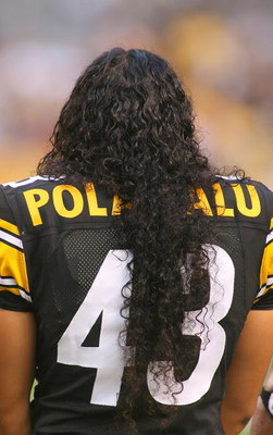 PITTSBURGH - AUGUST 13: Troy Polamalu #43 of the Pittsburgh Steelers stands during the National Anthem prior to a preseason NFL game against the Arizona Cardinals  on August 13, 2009 at Heinz Field in Pittsburgh, Pennsylvania.  (Photo by Rick Stewart/Gett