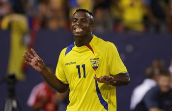 EAST RUTHERFORD, NJ - AUGUST 20:  Christian Benitez #11 of Ecuador reacts after scoring a goal in minute 40 of the game against Colombia at Giants Stadium in the Meadowlands on August 20, 2008 in East Rutherford, New Jersey  Ecuador won 1-0 (Photo by Mike