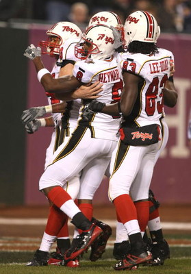 SAN FRANCISCO - DECEMBER 28: Darrius Heyward-Bey #8 of the Maryland Terrapins celebrates with teammates after scoring a touchdown in the first half against the Oregon State Beavers during the Emerald Bowl at AT&T Park December 28, 2007 in San Francisco, C