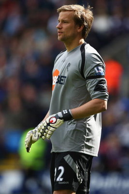 BOLTON, ENGLAND - MAY 16:  Jussi Jaaskelainen of Bolton during the Barclay's Premier League match between Bolton Wanderers and Hull City at the Reebok Stadium on May 16, 2009 in Bolton, England. (Photo by Michael Steele/Getty Images)