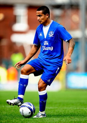 ROCHDALE, ENGLAND - JULY 18:  Tim Cahill of Everton in action during the Pre Season Friendly match between Rochdale and Everton on July 18, 2009 in Rochdale, England.  (Photo by Laurence Griffiths/Getty Images)