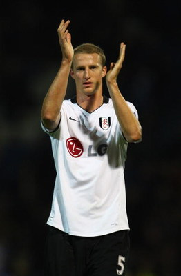 PORTSMOUTH, UNITED KINGDOM - OCTOBER 26:   Brende Hangeland of Fulham thanks the support after the Barclays Premier League match between Portsmouth and Fulham at Fratton Park on October 26, 2008 in Portsmouth, England.  (Photo by Julian Finney/Getty Image