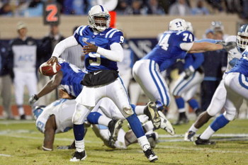 DURHAM, NC - NOVEMBER 29: Quarterback Thaddeus Lewis #9 of the Duke Blue Devils looks to pass the ball during the game against the North Carolina Tar Heels at Wallace Wade Stadium on November 29, 2008 in Durham, North Carolina. (Photo by Kevin C. Cox/Gett