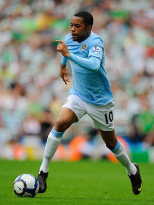 MANCHESTER, ENGLAND - AUGUST 08:  Robinho of Manchester City during the pre season friendly match between Manchester City and Celtic at the City of Manchester Stadium on August 8, 2009 in Manchester, England.  (Photo by Michael Regan/Getty Images)