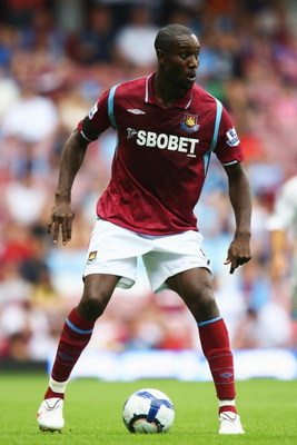 LONDON, ENGLAND - AUGUST 08:  Carlton Cole of West Ham United looks on during the Bobby Moore Cup between West Ham United and Napoli at Upton Park on August 8, 2009 in London, England.  (Photo by Paul Gilham/Getty Images)