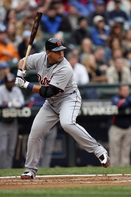 SEATTLE - APRIL 18:  Miguel Cabrera #24 of the Detroit Tigers bats during the game against the Seattle Mariners on April 18, 2009 at Safeco Field in Seattle, Washington. (Photo by Otto Greule Jr/Getty Images)