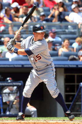 NEW YORK - JULY 19:  Brandon Inge #15 of the Detroit Tigers bats against the New York Yankees on July 19, 2009 at Yankee Stadium in the Bronx borough of New York City.  (Photo by Jim McIsaac/Getty Images)