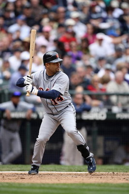 SEATTLE - APRIL 19:  Placido Polanco #14 of the Detroit Tigers bats against the Seattle Mariners during the game on April 19, 2009 at Safeco Field in Seattle, Washington. (Photo by Otto Greule Jr/Getty Images)
