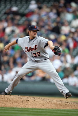 SEATTLE - APRIL 19:  Brandon Lyon #37 of the Detroit Tigers pitches against the Seattle Mariners during the game on April 19, 2009 at Safeco Field in Seattle, Washington. (Photo by Otto Greule Jr/Getty Images)