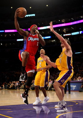 LOS ANGELES, CA - NOVEMBER 05:  Baron Davis #1 of the Los Angeles Clippers shoots over Pau Gasol #16 of the Los Angeles Laker on November 5, 2008 at Staples Center in Los Angeles, California.  The Lakers won 106-88.  NOTE TO USER: User expressly acknowled