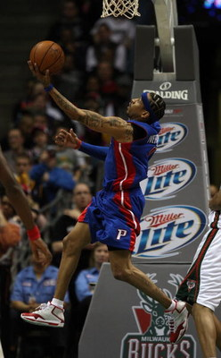 MILWAUKEE - FEBRUARY 07:  Allen Iverson #1 of the Detroit Pistons goes in for a reverse lay-up against the Milwaukee Bucks on February 7, 2009 at the Bradley Center in Milwaukee, Wisconsin. The Pistons defeated the Bucks 126-121 in overtime. NOTE TO USER: