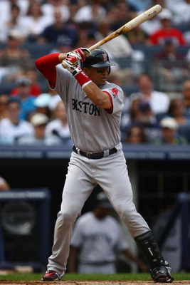 NEW YORK - AUGUST 08:  Victor Martinez #41 of the Boston Red Sox at bat against the New York Yankees of the Boston Red Sox during their game on August 8, 2009 at Yankee Stadium in the Bronx borough of New York City.  (Photo by Chris McGrath/Getty Images)