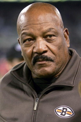BALTIMORE - NOVEMBER 7:  Hall of Famer Jim Brown watches from the sidelines as the Baltimore Ravens defeated the Cleveland Browns 27-13 on November 7, 2004 at M&T Bank Stadium in Baltimore, Maryland.  (Photo by Doug Pensinger/Getty Images)