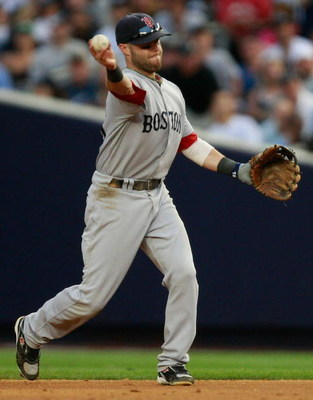 NEW YORK - AUGUST 08:  Dustin Pedroia #15 of the Boston Red Sox throws to first base during the game on August 8, 2009 at Yankee Stadium in the Bronx borough of New York City.  (Photo by Jared Wickerham/Getty Images)