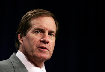JACKSONVILLE, FL - FEBRUARY 4:  Bill Belichick, head coach of the New England Patriots, speaks at a pre Superbowl press conference February 4, 2005 at the Prime F. Osborn Convention Center in Jacksonville, Florida.  (Photo by Al Bello/Getty Images)