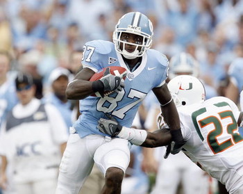 CHAPEL HILL, NC - OCTOBER 06: Brandon Tate #87 of the North Carolina Tar Heels carries the ball during game against the Miami Hurricanes at Kenan Stadium on October 6, 2007 in Chapel Hill, North Carolina. (Photo by Kevin C. Cox/Getty Images)