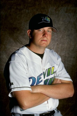 25 Feb 1999: Pitcher Bobby Seay #83 of the Tampa Bay Devil Rays poses for a studio portrait on Photo Day during Spring Training at Lang Stadium in St. Petersburg, Florida. Mandatory Credit: Scott Halleran  /Allsport