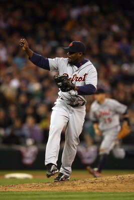 SEATTLE - APRIL 18:  Fernando Rodney #56 of the Detroit Tigers pitches during the game against the Seattle Mariners on April 18, 2009 at Safeco Field in Seattle, Washington. (Photo by Otto Greule Jr/Getty Images)