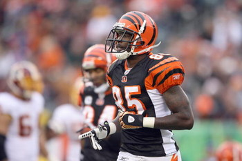 CINCINNATI - DECEMBER 14:  Chad Johnson #85 of the Cincinnati Bengals jogs on the field during the NFL game against the Washington Redskins on December 14, 2008 at Paul Brown Stadium in Cincinnati, Ohio. The Bengals won 20-13. (Photo by Andy Lyons/Getty I