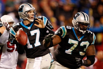 CHARLOTTE, NC - JANUARY 10:  Quarterback Jake Delhomme #17 of the Carolina Panthers looks to pass against the Arizona Cardinals during the NFC Divisional Playoff Game on January 10, 2009 at Bank of America Stadium in Charlotte, North Carolina.  (Photo by