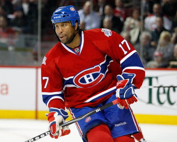 MONTREAL- APRIL 20:  Georges Laraque #17 of the Montreal Canadiens skates during Game Three of the Eastern Conference Quarterfinals of the 2009 Stanley Cup Playoffs against the Boston Bruins at the Bell Centre on April 20, 2009 in Montreal, Quebec, Canada