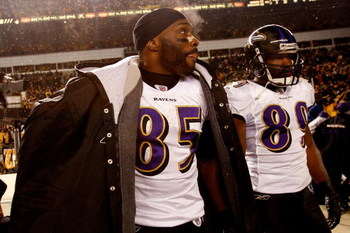 PITTSBURGH - JANUARY 18:  (L-R) Derrick Mason #85 and Mark Clayton #89 of the Baltimore Ravens stand on the field dejected after their 23-14 loss against the Pittsburgh Steelers during the AFC Championship game on January 18, 2009 at Heinz Field in Pittsb