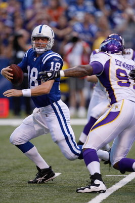 INDIANAPOLIS, IN - AUGUST 14: Quarterback Peyton Manning #18 of the Indianapolis Colts runs out of the pocket under pressure against the Minnesota Vikings at Lucas Oil Stadium on August 14, 2009 in Indianapolis, Indiana. (Photo by Scott Boehm/Getty Images