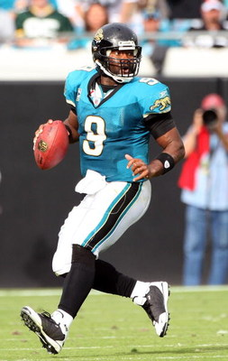 JACKSONVILLE, FL - DECEMBER 14:  David Garrard #9 of the Jacksonville Jaguars scrambles for yardage during the game against the Green Bay Packers at Jacksonville Municipal stadium on December 14, 2008 in Jacksonville, Florida.  (Photo by Sam Greenwood/Get