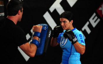 LOS ANGELES, CA - SEPTEMBER 17:  MMA Superstar Gina Carano during the Workout/Media Day with Kimbo Slice and Gina Carano at the Legends Mixed Martial Arts Training Center on September 17, 2008 in Los Angeles, California.  (Photo by Robert Laberge/Getty Im