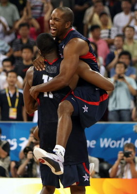 BEIJING - AUGUST 24:  Michael Redd #8 and Dwight Howard #11 of the United States celebrate after defeating Spain 118-107 in the gold medal game during Day 16 of the Beijing 2008 Olympic Games at the Beijing Olympic Basketball Gymnasium on August 24, 2008