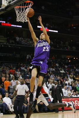 CHARLOTTE, NC - FEBRUARY 22:  Kevin Martin #23 of the Sacramento Kings takes the ball to the basket against the Charlotte Bobcats during the game at Bobcats Arena on February 22, 2008 in Charlotte, North Carolina. The Kings won 116-115.  NOTE TO USER: Use