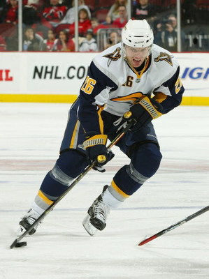 NEWARK, NJ - DECEMBER 13:  Thomas Vanek #26 of the Buffalo Sabres skates against the New Jersey Devils at the Prudential Center on December 13, 2008 in Newark, New Jersey. The Sabres defeated the Devils 4-2.  (Photo by Mike Stobe/Getty Images)
