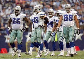IRVING, TX - AUGUST 9:  Andre Gurode #65, Kyle Kosier #63, Doug Free #68 and Patrick Crayton #84 of the Dallas Cowboys walk to the line during the preseason game against the Indianapolis Colts at Texas Stadium on August 9, 2007 in Irving, Texas. (Photo by