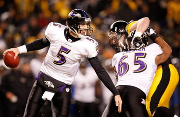 PITTSBURGH - JANUARY 18:  Quarterback Joe Flacco #5 of the Baltimore Ravens looks to pass against the  Pittsburgh Steelers during the first quarter AFC championship game on January 18, 2009 at Heinz Field in Pittsburgh, Pennsylvania.  (Photo by Gregory Sh