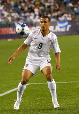 FOXBOROUGH, MA - JULY 11:  Charlie Davies #9 of USA competes against Haiti during 2009 CONCACAF Gold Cup competition at Gillette Stadium on July 11, 2009 in Foxborough, Massachusetts. USA and Haiti played to a 2-2 draw. (Photo by Jim Rogash/Getty Images)