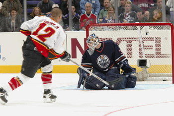 1 Feb 2002:   Goaltender Tommy Salo of the Edmonton Oilers stops a shot by Jarome Ignila of the Calgary Flames during the Dodge NHL SuperSkills competition at the Staples Center in Los Angeles, California.  The World defeated North America 21-11. DIGITAL 