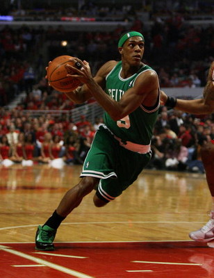 CHICAGO - APRIL 23: Rajon Rondo #9 of the Boston Celtics drives to the basket against the Chicago Bulls in Game Three of the Eastern Conference Quarterfinals during the 2009 NBA Playoffs at the United Center on April 23, 2009 in Chicago, Illinois. The Cel