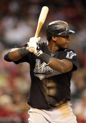 PHOENIX - JULY 10:  Hanley Ramirez #2 of the Florida Marlins bats against the Arizona Diamondbacks during the major league baseball game at Chase Field on July 10, 2009 in Phoenix, Arizona. The Diamondbacks defeated the Marlins 8-0.  (Photo by Christian P